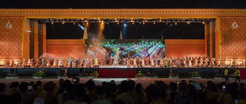 Khon performing arts show classic Thai dance. Bangkok, Thailand - May 22, 2019 : Khon performances arts  Thai classical dance show in celebration Royal stock photo