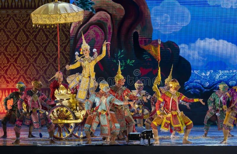 Khon performing arts show classic Thai dance. Bangkok, Thailand - May 22, 2019 : Khon performances arts of Thai classical dance show in celebration Royal stock photo