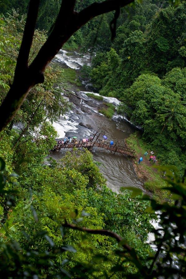 Khone Phapheng vattennedgång eller Mekong River i champasak som är sydlig av Laos ett av den största och härliga vattenfallet i a royaltyfri fotografi