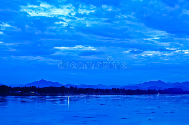Download Khong River And Blue Sky Before Sunrise Stock Image - Image of night, khong: 26662305