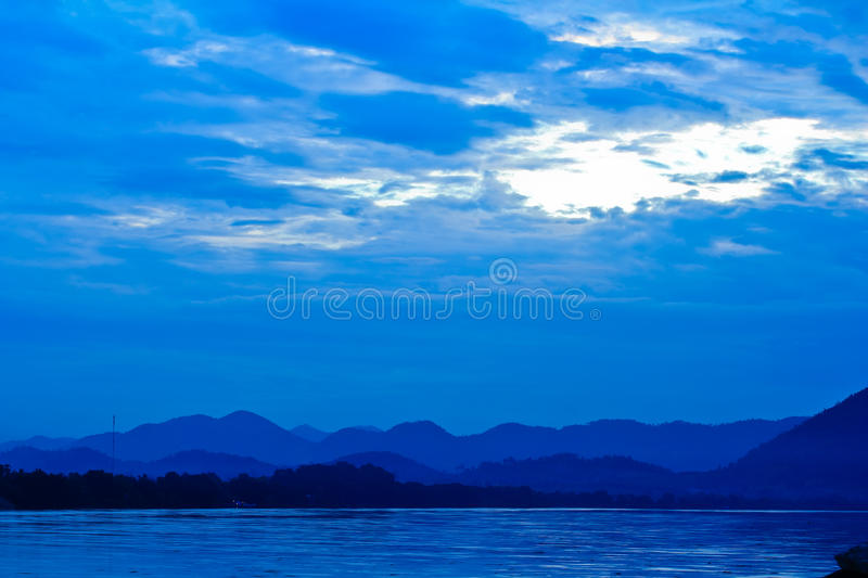 Download Khong River And Blue Sky Before Sunrise Stock Photo - Image: 27126646