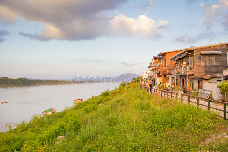 The Khong river, the border of Thai-Loas, at Chiangkhan district. Loei-Thailand: Nov. 2016, Classic Wooden house beside the Khong river, the border of Thai-Loas royalty free stock images