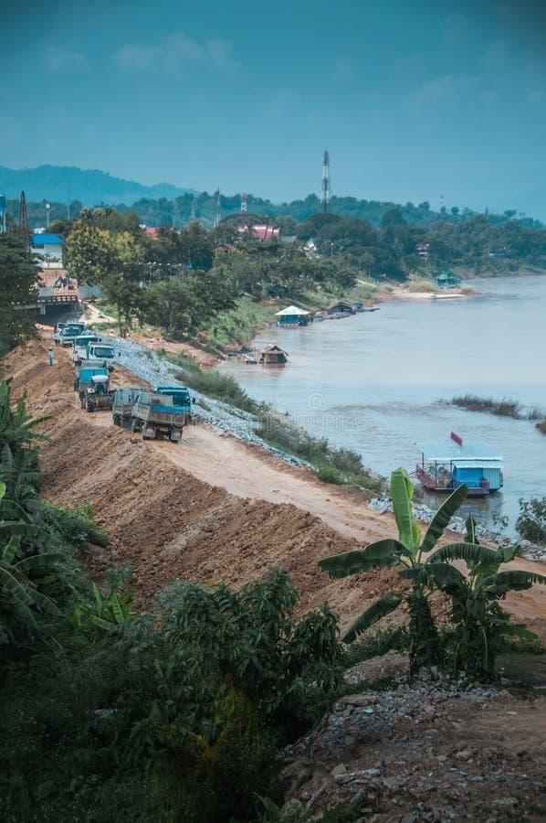 Khong river at the Chiangkhong stock image