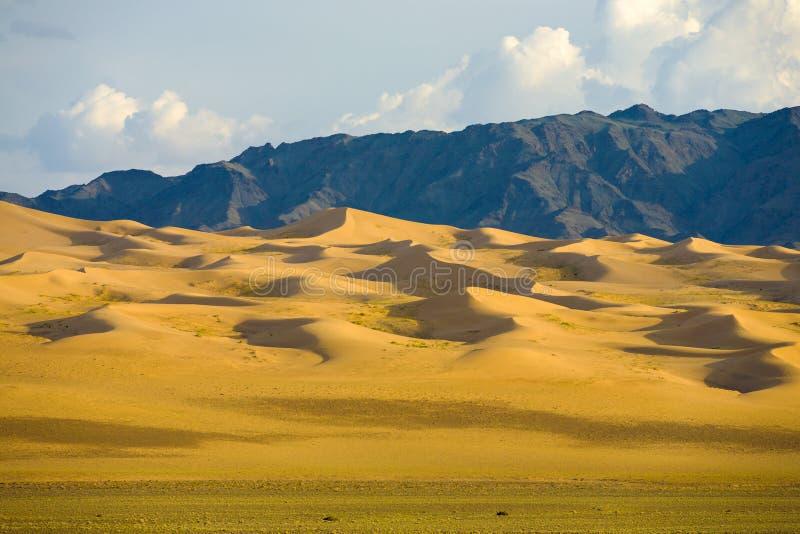 Khongor Els Sand Dune Gobi Desert Mongolia. Gradually sloping, picturesque sand dunes of the Mongolian Gobi Desert and mountain range at Khongor Els in southern royalty free stock image
