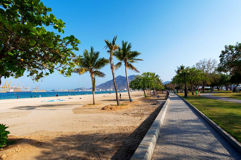 Khor Fakkan, United Arab Emirates - March 16, 2019: Khor Fakkan public beach in the emirate of Sharjah in United Arab Emirates stock photos