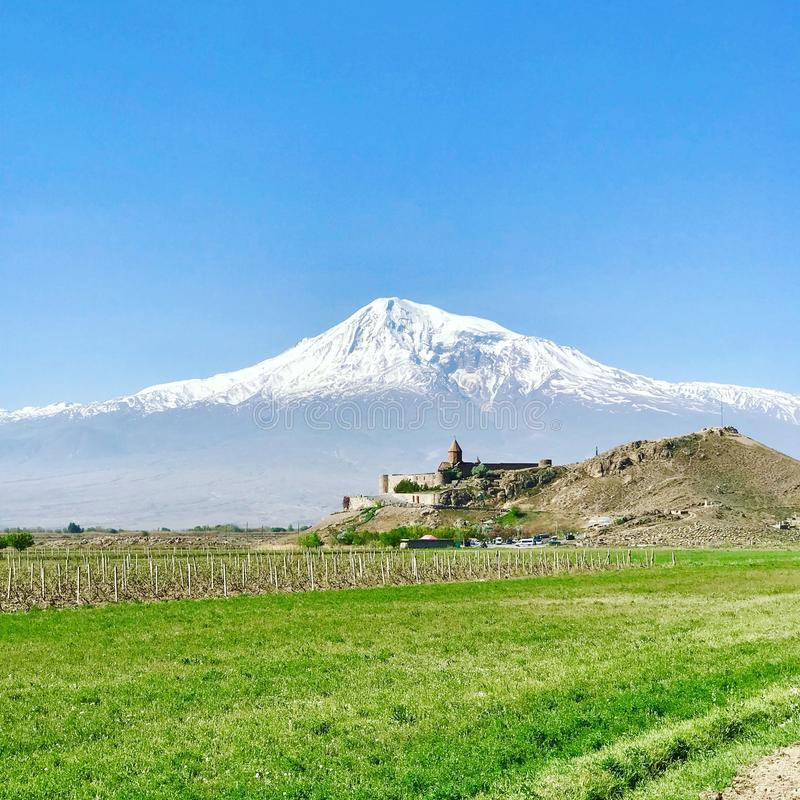 Khor Virap, αρμενικό μοναστήρι στην πεδιάδα Ararat στην Αρμενία, κοντά στο υποστήριγμα Ararat Ήταν κατοικία αρμενικού Catholicos στοκ εικόνα με δικαίωμα ελεύθερης χρήσης