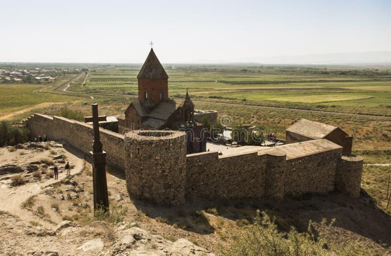 Khor Virap de diepe kerker is een Armeens gevestigd klooster stock fotografie