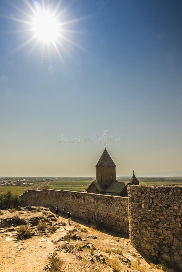 Khor Virap de diepe kerker is een Armeens gevestigd klooster royalty-vrije stock foto
