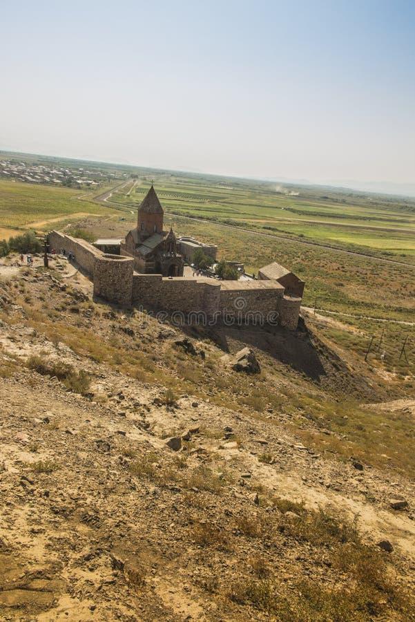 Khor Virap de diepe kerker is een Armeens gevestigd klooster royalty-vrije stock afbeelding