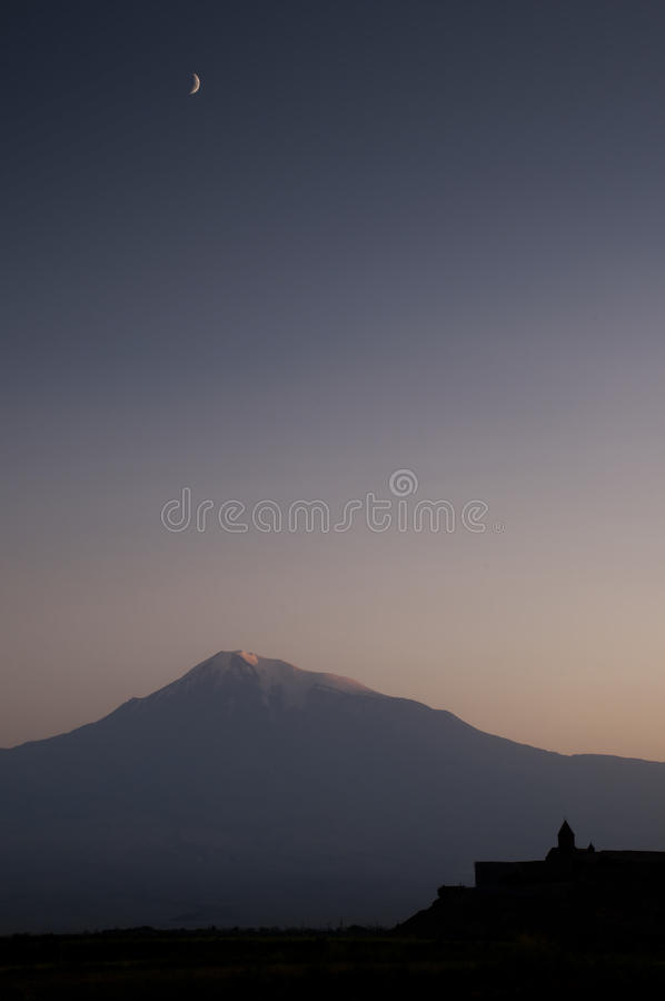 The Khor Virap monastery with Ararat mountain. royalty free stock images