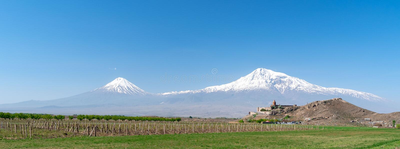Khor Virap monastery on the background of mount Ararat in Armenia, long wide banner. stock photo