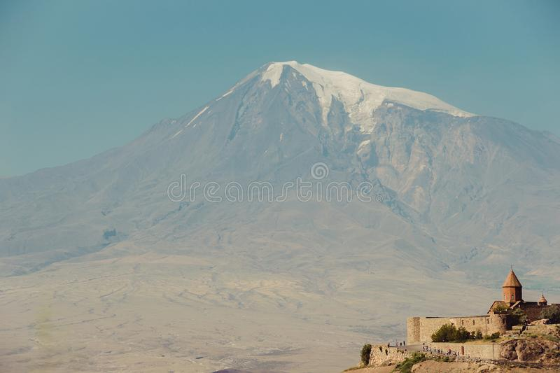 Khor Virap Monastery. Mount Ararat on background. Exploring Armenia. Armenian architecture. Tourism and travel concept. Mountain l stock images