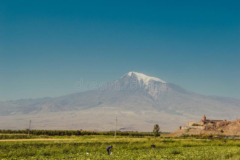 Khor Virap Monastery. Mount Ararat on background. Exploring Armenia. Tourism, travel concept. Mountain landscape. Religious landma stock photography