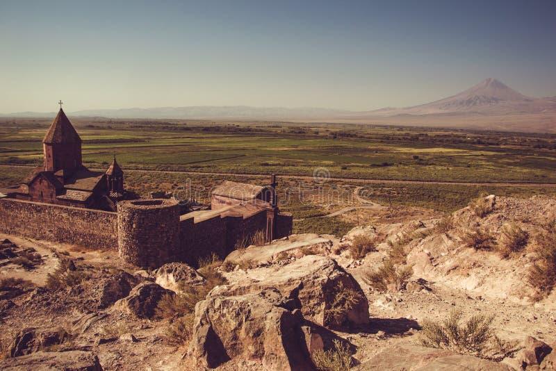 Khor Virap Monastery top view. Mountain Ararat on background. Exploring Armenia. Armenian architecture. Tourism and travel concept stock photography