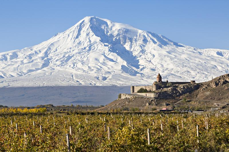 Khor Virap Monastery and Mt Ararat in Armenia. Khor Virap Monastery with vineyards and Mount Ararat, Armenia stock photos