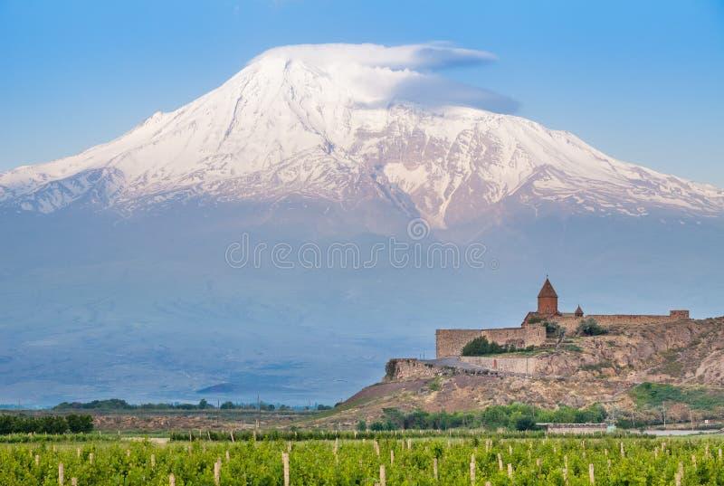 Khor Virap and Mount Ararat stock photo