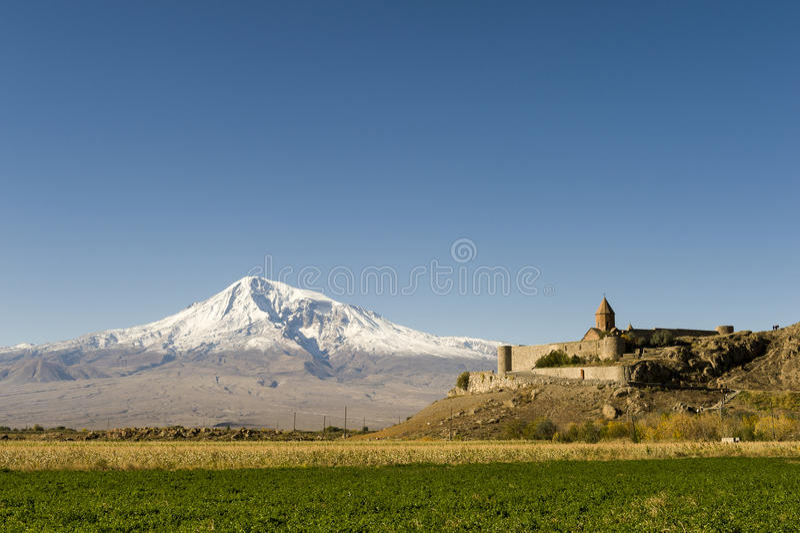 Khor Virap and Mount Ararat royalty free stock images