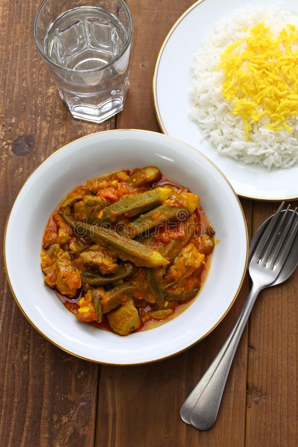 Iranian okra stew. Khoresh bamieh, iranian okra stew royalty free stock photo