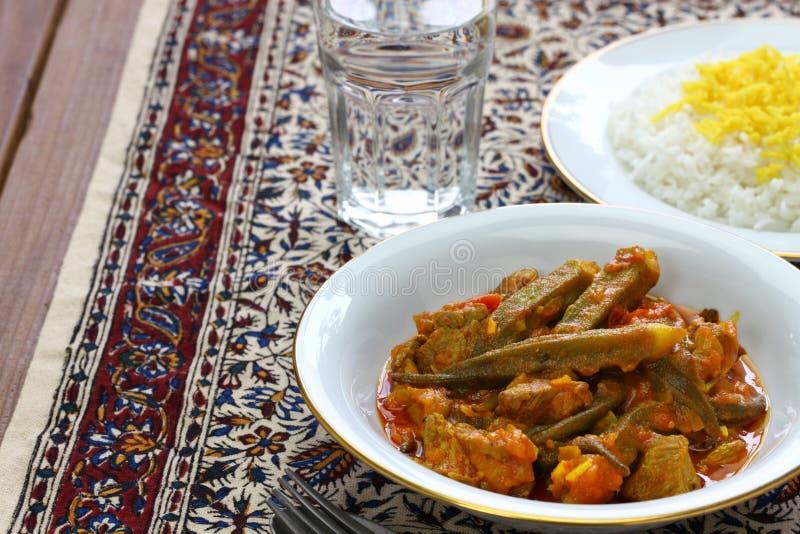 Iranian okra stew. Khoresh bamieh, iranian okra stew isolated on white background stock photos