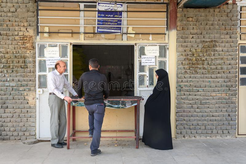 Iranian people buying bread in shop on the street in Khorramabad. Iran stock images