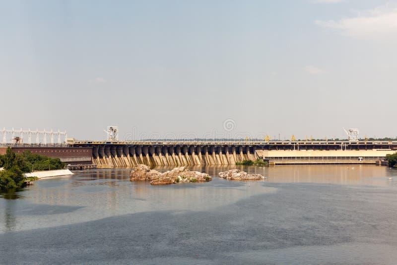 Khortytsia-Insel, Dnieper-Fluss und Wasserkraftwerk Zaporizhia, Ukraine stockfoto