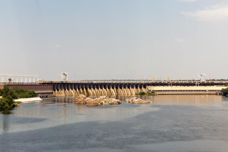 Khortytsia island, Dnieper River and hydroelectric power plant. Zaporizhia, Ukraine. Scenic view from the island of Khortytsia to the Dnieper River and Dnipro stock photo