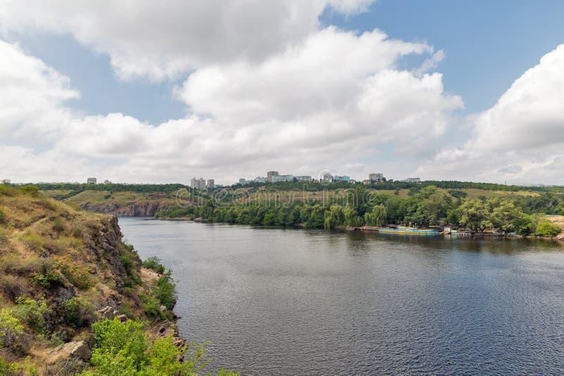 Khortytsia island, Zaporizhia cityscape and River Dnieper, Ukraine. Landscape with Zaporizhia cityscape in the distance and Khortytsia, the largest island in the stock photo