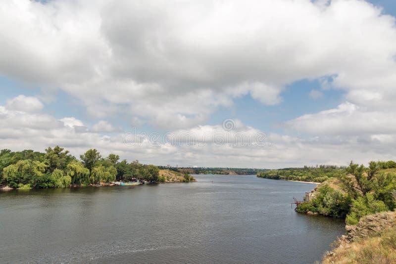 Khortytsia island, Zaporizhia cityscape and River Dnieper, Ukraine. Landscape with Zaporizhia cityscape in the distance and Khortytsia, the largest island in the stock image