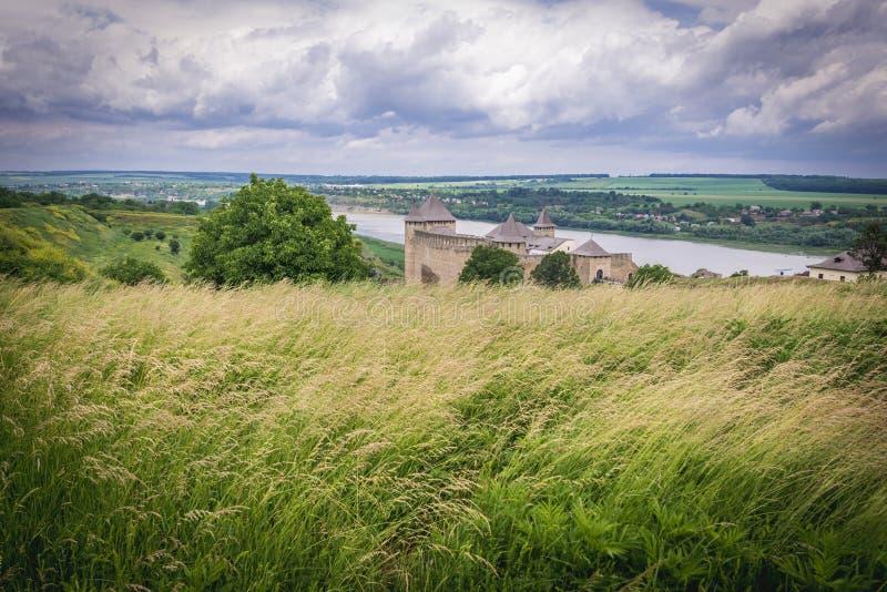 Khotyn forteca w Ukraina obraz stock