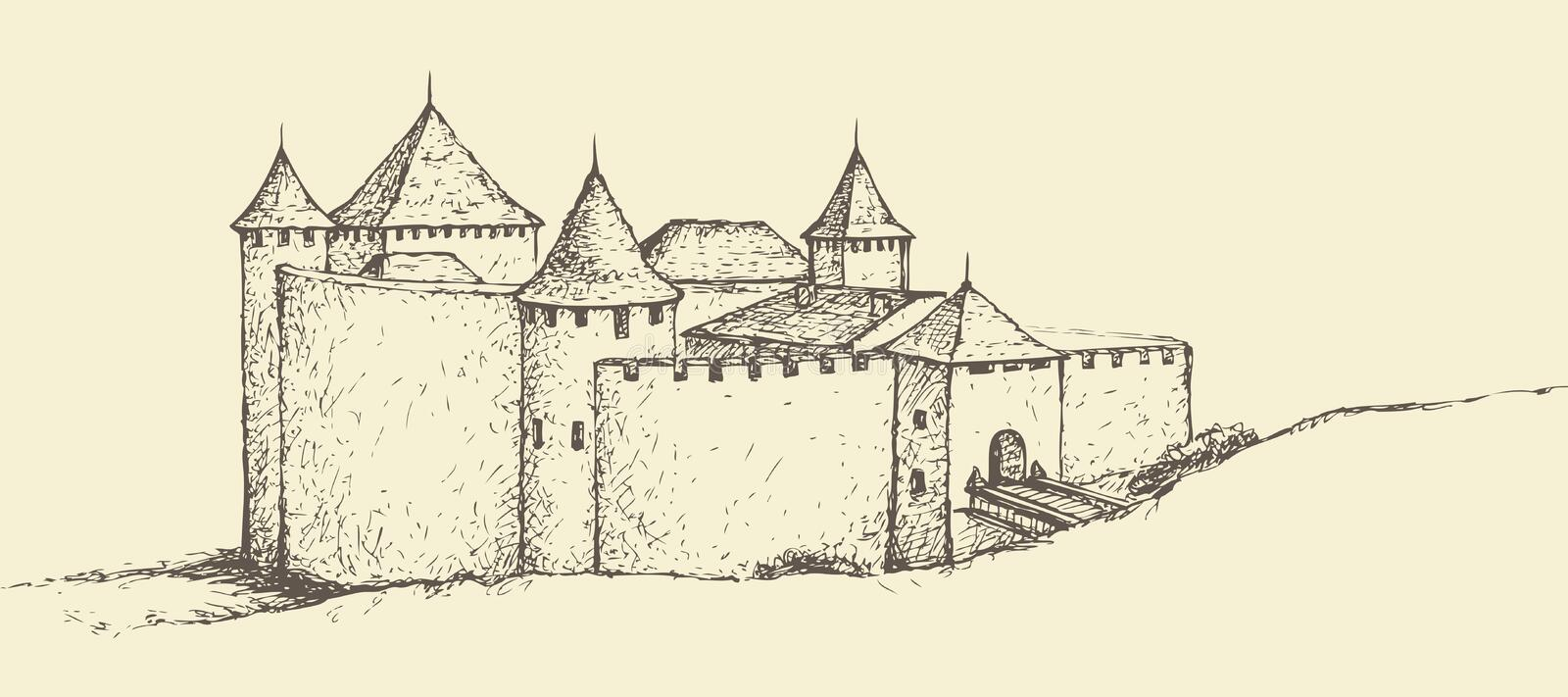 Khotyn Fortress, Ukraine. Vector sketch. Khotin Fortress, Ukraine. Stone fortification complex on bank of Dniester River. Vector monochrome freehand ink drawn stock illustration