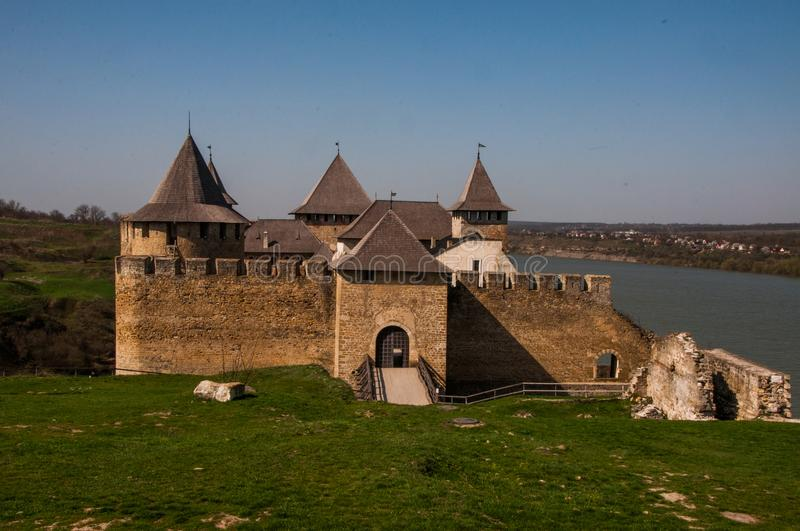 Khotyn fortress - witness of numerous wars and battles. royalty free stock image