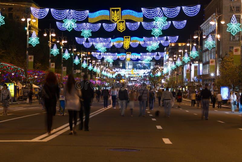 Khreshchatyk  at night in Kyiv.