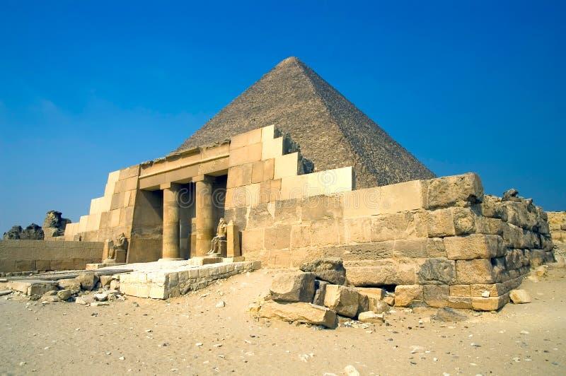 Khufu pyramid. Great Pyramid of Giza (pharaoh Khufu pyramid) and ancient temle, Egypt stock images