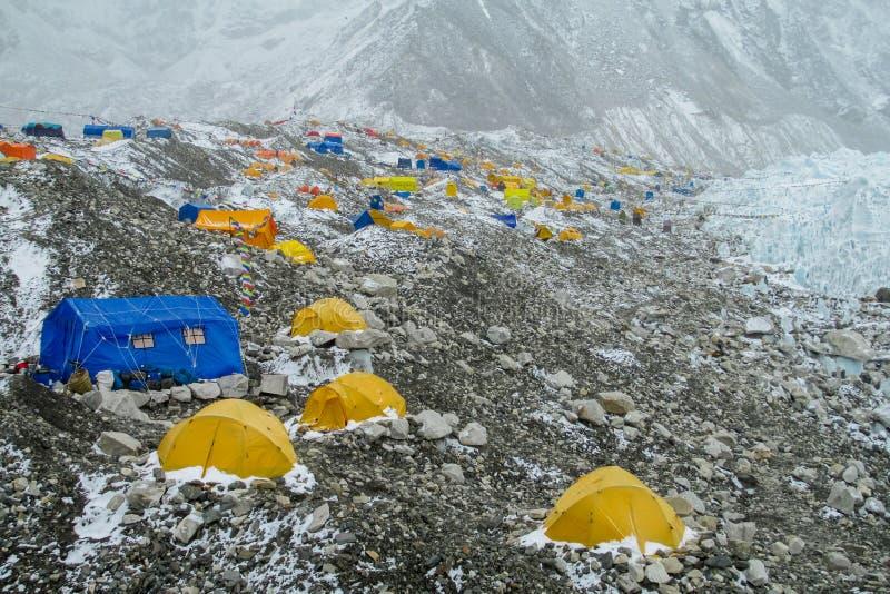 Everest Base Camp tents on Khumbu glacier EBC, Nepal side royalty free stock photo