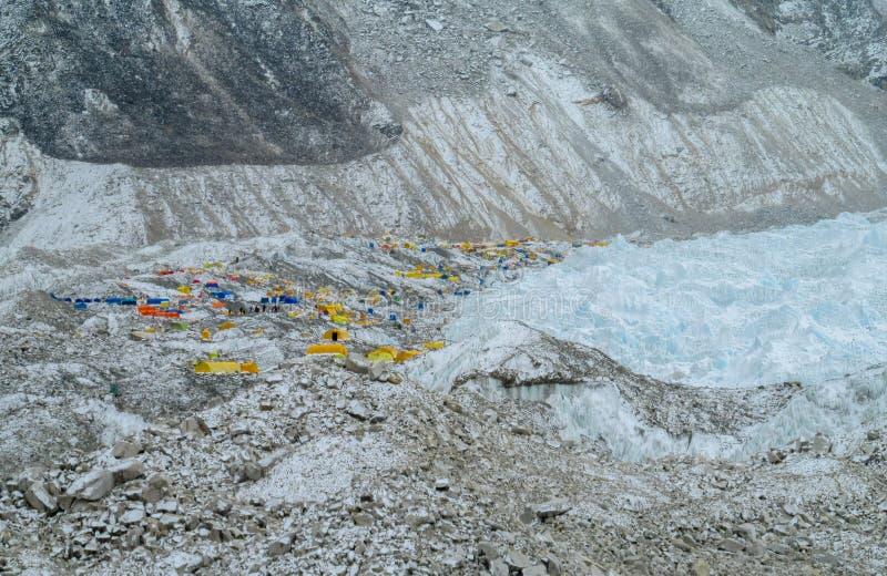 Everest Base Camp tents on Khumbu glacier EBC, Nepal side stock photos