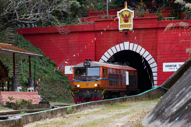 Khun Tan Tunnel is a tunnel, the train passes through the length of the country Lampang Thailand. Khun Tan Tunne - Lampang Thailand - April 14, 2016 :- Khun Tan royalty free stock photography