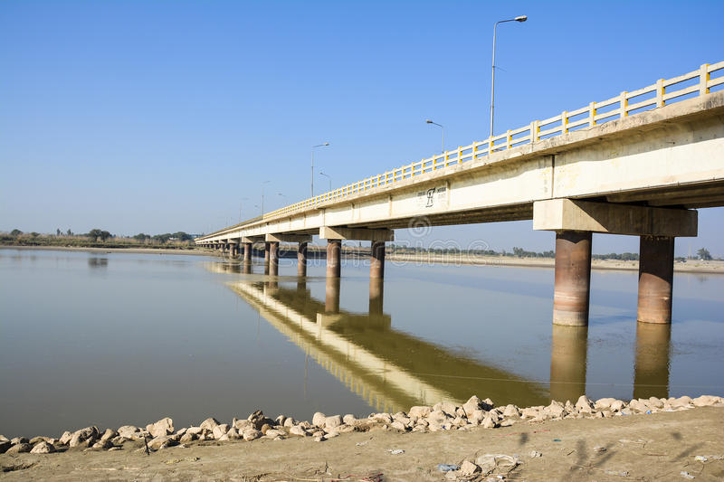 Khushab Bridge over Jhelum River. Located in Khushab, Punjab, Pakistan. Jehlam River or Jhelum River is a river that flows in the Indian and Pakistani royalty free stock photo
