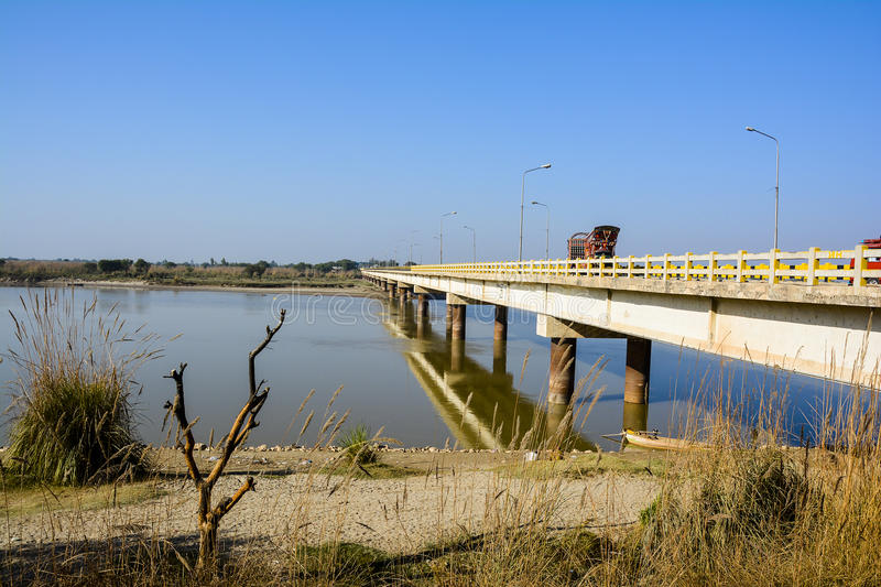 Khushab Bridge over Jhelum River. Located in Khushab, Punjab, Pakistan. Jehlam River or Jhelum River is a river that flows in the Indian and Pakistani royalty free stock photos