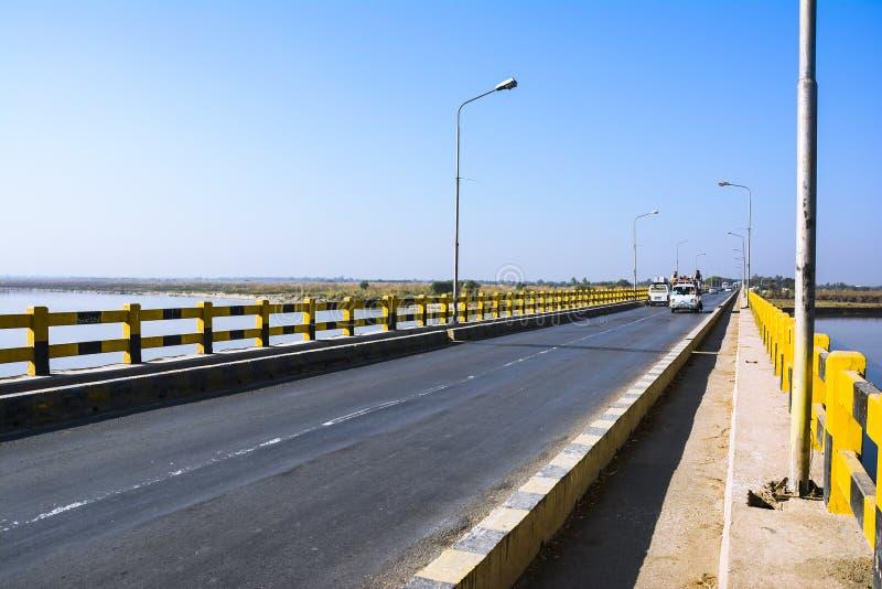 Khushab Bridge over Jhelum River. Photo of Jhelum River taken near Khushab Bridge, Punjab, Pakistan. Jehlam River or Jhelum River is a river that flows in the stock images