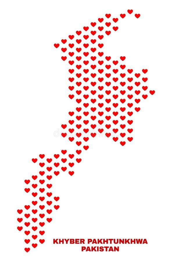 Khyber Pakhtunkhwa Province Map - Mosaic of Heart Hearts vector illustration