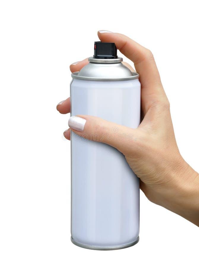 Kiść aerosol w żeńskiej ręce zdjęcia royalty free