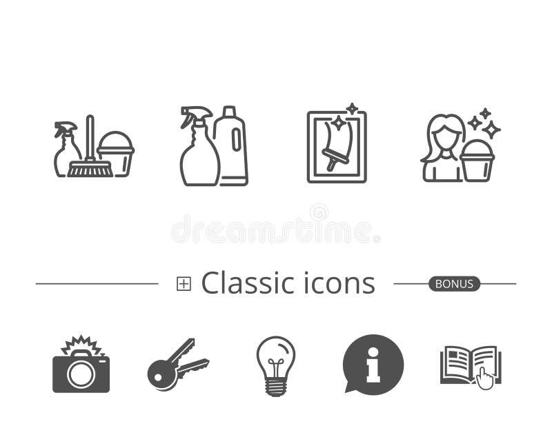 Kiść, Nadokienny Cleaning i gosposi wyposażenia ikony, royalty ilustracja