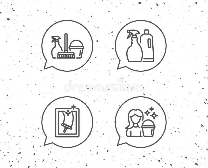 Kiść, Nadokienny Cleaning i gosposi wyposażenia ikony, ilustracja wektor
