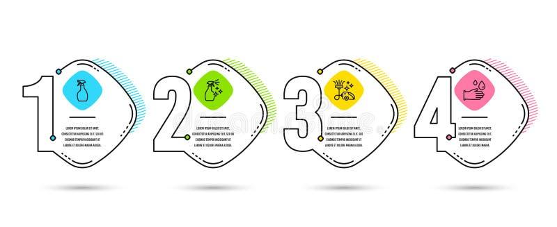 Kiść, Próżniowy cleaner i Płuczkowe cleanser ikony, Gumowy rękawiczka znak wektor ilustracji