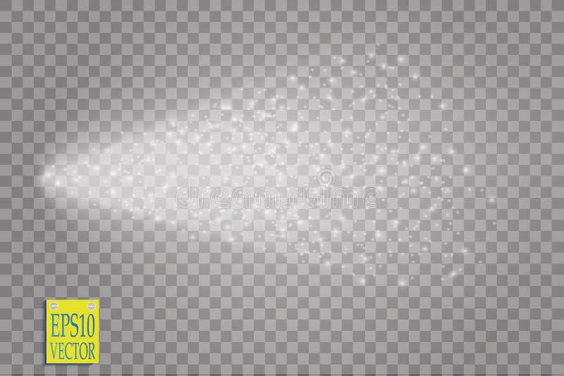 Kiść wektorowy skutek na przejrzystym tle Biały dym z wiele małymi cząsteczkami lub mgła ilustracji