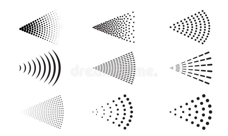 Kiści ikony wody powietrza natryskownicy wektorowy nozzle ilustracja wektor