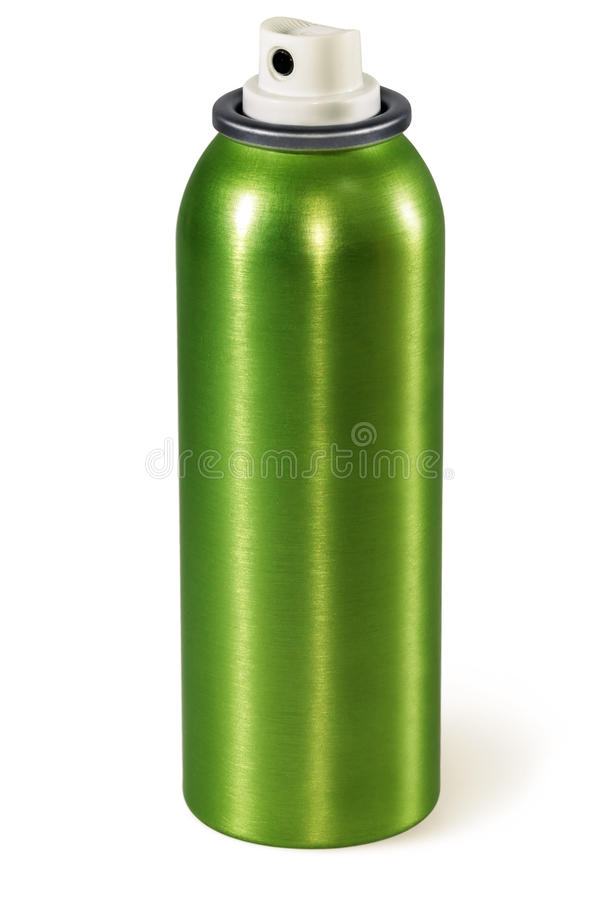 Kiści puszka Zielona aluminiowa aerosol puszka obraz stock