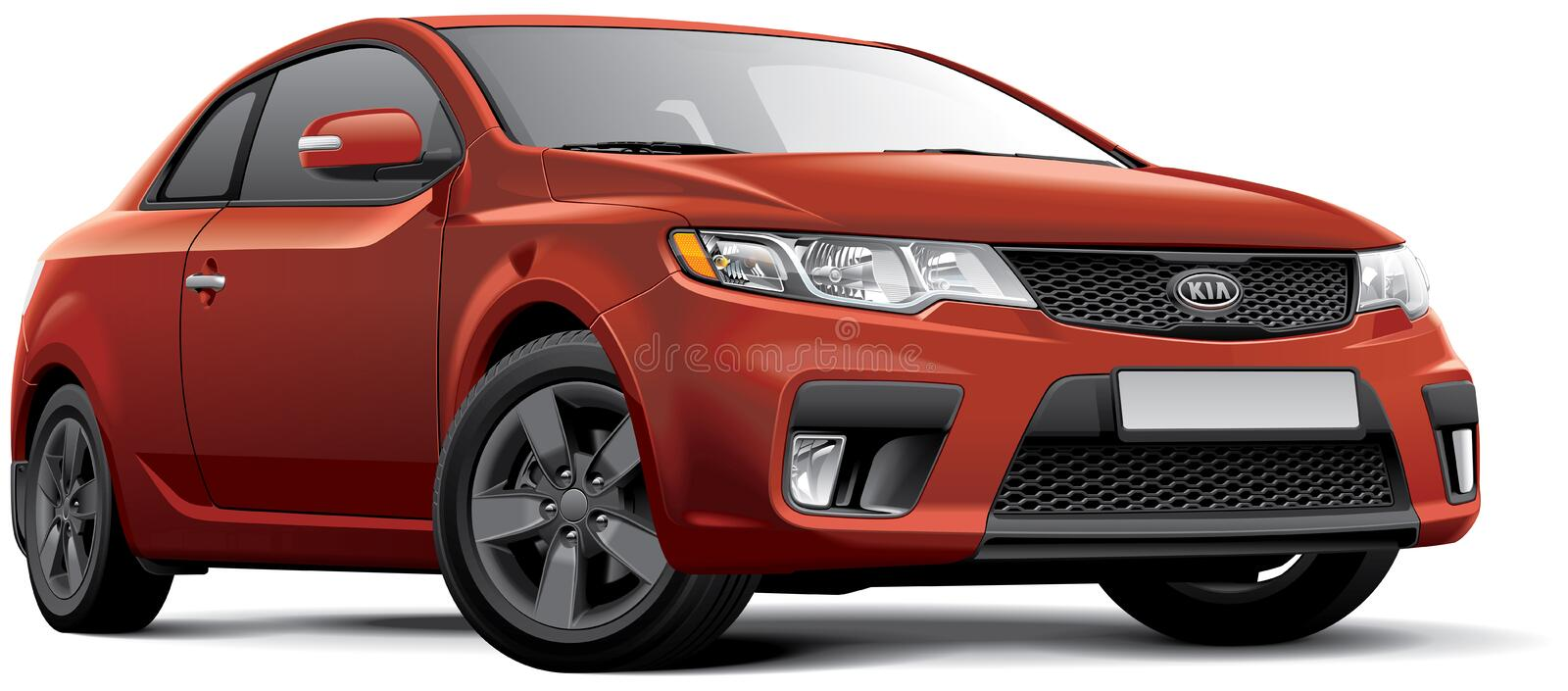 Kia Cerato Koup. High quality vector image of Korean compact coupe - Kia Cerato Koup, isolated on white background. File contains gradients, blends and