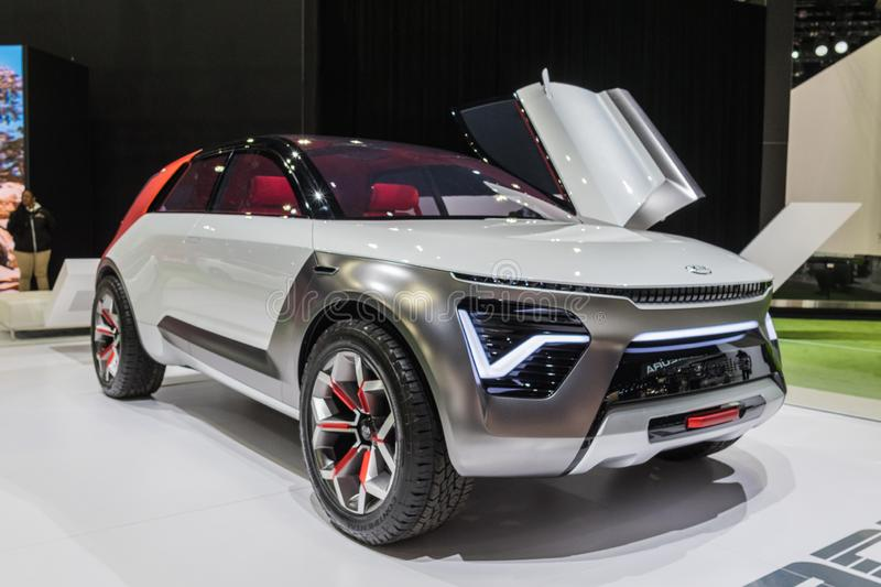 Kia HabaNiro Electric Compact Crossover concept on display during Los Angeles Auto Show stock photo