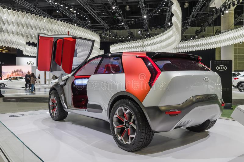 Kia HabaNiro Electric Compact Crossover concept on display during Los Angeles Auto Show royalty free stock photography